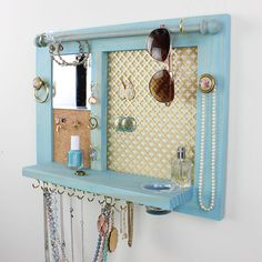 Jewelry Organizer (Space Saver) - Wall Hanging Jewelry Shelf and Jewelry Display. - Jewelry Organizer (Space Saver) – Wall Hanging Jewelry Shelf and Jewelry Display with Mirror – - Diy Organizer, Diy Jewelry Holder, Hanging Jewelry Organizer, Jewelry Box, Jewelry Stand, Wooden Jewelry, Organizers, Body Jewelry, Chain Jewelry