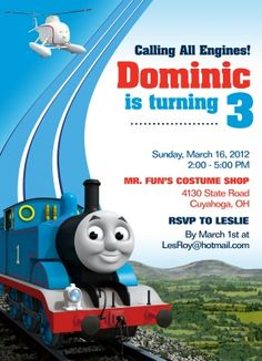 Thomas The Tank Engine Birthday Invitations Friends Design