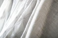 Statement Sheers combines damasks, stripes, ogees, metallics and floral patterns into two color palettes: Ivory and Flax.