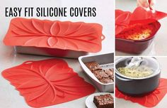 Easy-Fit Silicone Covers No more plastic or foil wrap, use these covers in the oven, in the fridge, or as a trivet. Large: $24.00 -- #1271 Small: $20.00 -- #1272