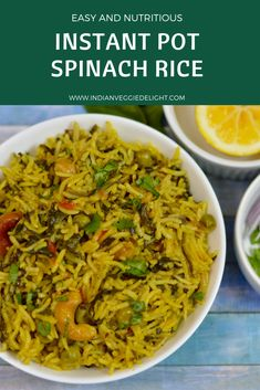 Spinach Rice or Palak Pulao is a quick, healthy one-pot meal loaded with proteins, fibers, carbs and vitamins all-in-one pot . Spinach Recipes, Veg Recipes, Indian Food Recipes, Vegetarian Recipes, Cooking Recipes, Healthy Recipes, Spinach Pie, Summer Recipes, Vegan Vegetarian