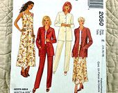 McCalls 2050 Pattern for Women, Band Collar Jacket, Sleeveless Top, Back Zipper Pants and Skirt, Mid Calf, 1999 Uncut, Size 14 16 18, 4-oz