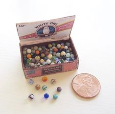 Miniature marbles in box in 1/12 scale