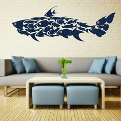 Shark Fish Interior Art Wall Stickers / Wall Decals / Large Wall Art Murals Huge FI9. £19.99, via Etsy.