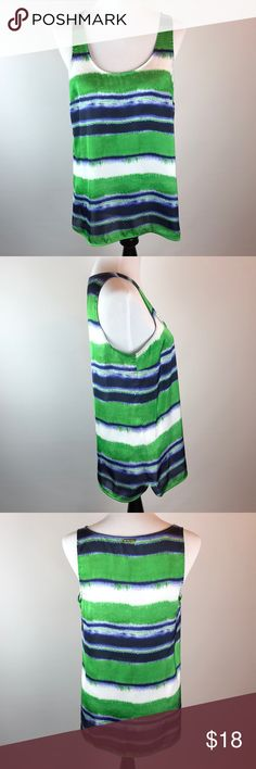 Michael Kors Painterly Striped Women's Tank Top Michael Kors Blue Green White Painterly Striped Women's Tank Top Size M bust measures 34 inches length from shoulder to hem 24 inches sleeve measures 20.5 inches my inventory number SRWT 1080 Michael Kors Tops Tank Tops