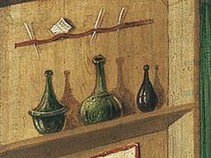Shelf above desk. Detail from St Mark the Evangelist by Gabriel Malasskircher. 1478 Held at Museo Thysson-Bornemisza, Madrid