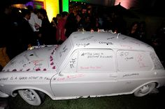'The Perks of Being a Wallflower' Premiere Party. Guests were invited to doodle on an all-white car, parked inside a custom-built patio area... Photo: Jerod Harris/Getty Images For vitaminwater