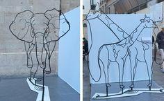 Esculturas de cable revelan distintos tipos de animales dependiendo de la perspectiva - http://www.creativosonline.org/blog/esculturas-de-cable-revelan-distintos-tipos-de-animales-dependiendo-de-la-perspectiva.html