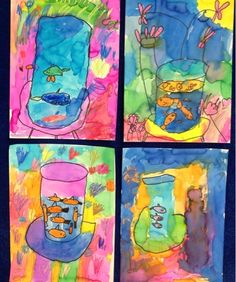 Second grade began their still life study with a version of Matisse's Goldfish. We learned how different art materials can create different effects, like pencil/Sharpie and crayon/watercolor. Mrs. Knight's Smartest Artists