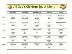 Daycare Sample Menu | Dayhome menus | Pinterest | Sample menu and Menu