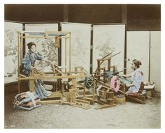 Baron Raimund von Stillfried   Two women weaving silk on looms   1875       Photographic print   19.5 x 24 cm       Edinburgh City Libraries and Information Services   Library Item, 15118          LL/41031       Two Japanese women wearing kimonos are weaving silk. The one on the right is using a jibata handloom and the woman on the left takahata weaving apparatus. They are both standing in front of a series of painted screens.