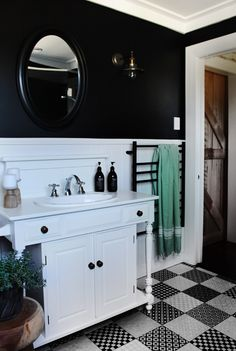 White and black bathroom by Auckland designer Hayley from Lou Brown Design. Bungalow Renovation, Renovations, Interior Styling, Furniture, Black Bathroom, Interior, Round Mirror Bathroom, Beautiful Homes, Home Decor