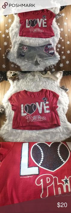 Phillies PJ/Loungewear Set Phillies PJ/Loungewear Set - Philadelphia Baseball Fans! Victoria's Secret PINK meets 5th & Ocean Clothing, XS Red Crop Top & Gray Sweatshorts Great Condition  Not a Poshmark member yet? Enter referral code WHTELEPHNTRVIVL while setting up your account and get $5 off your first purchase! PINK Victoria's Secret Intimates & Sleepwear Pajamas