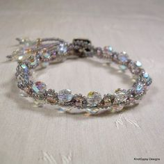 Micro Macrame BRACELET - Criss Cross in Gray Pink and Crystal | KnotGypsyDesigns - Jewelry on ArtFire