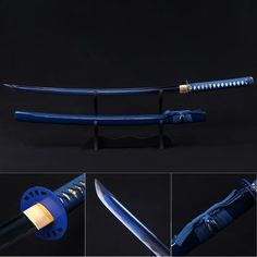 Fantasy Sword, Fantasy Weapons, Samurai Swords Katana, Armas Ninja, Anime Weapons, Ninja Weapons, Cool Swords, Japanese Sword, Japanese Art