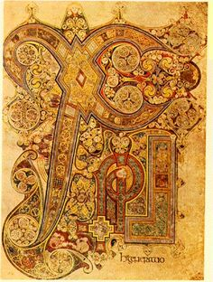 Page from the Book of Kells  Celtic  illuminated manuscript  Late 8th -9th Century A.D.  Illuminated Manuscripts  -copied Biblical texts that were done in scriptoria in Celtic monasteries  -designs and icons arranged in a pattern  -done on vellum, a high quality calfskin parchment  -parchment is made from thin pieces of animal hide  -codex-manuscipt book