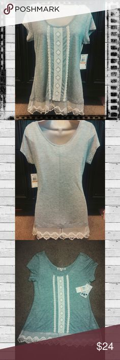 "Lace Trim Gray Tunic Top Pretty tunic style top, gray with white crochet trim and ruffle lace hem by Jolt. New with tags size small. 27"" long, 18"" across chest. 100% rayon.  #jolt #jolttop #crochettrim #lacehem #laceedge #greytunic #graytunic Jolt Tops"