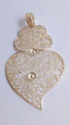 Filigree pendant gold portuguese 82 cm charm heart by ROYALcraftPT
