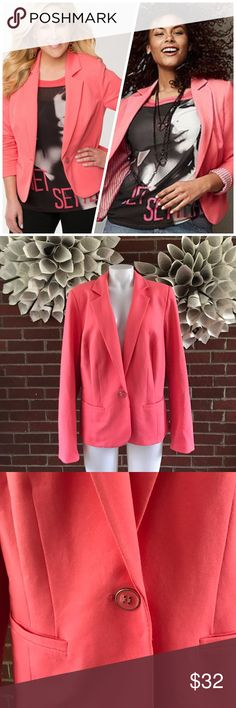 Lane Bryant Single Button lined Blazer Please see photos for all measure! Sorry I do not model/trade!! This item comes from a smoke free, pet friendly home!! No rips, holes or stains to note!! I ship Monday-Friday to ensure quick delivery (orders placed after 7am will not be processed until the following day). Orders placed Saturday/Sunday will not be processed until Monday morning :)! Thanks for shopping my closet!! Lane Bryant Jackets & Coats Blazers