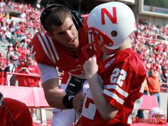 So totally sweet!  Taylor Martinez and Jack Hoffman at the 2013 Spring Game.  A gracious heart!