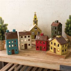 The Holiday Aisle 6 Piece Ceramic Village Set Clay Houses, Ceramic Houses, Miniature Houses, Clay Projects, Clay Crafts, Diy And Crafts, Sand Crafts, Teal House, Pottery Houses