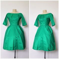 Vintage 1950s Dress | 50s Emerald Green Party Dress | Green Cocktail Dress | XS by OhMyGatoVintage on Etsy https://www.etsy.com/listing/246496104/vintage-1950s-dress-50s-emerald-green