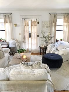Small home design can be challenging for today's modern family. See how the lovely and creative Toni updates her home with loads of vintage charm! Cottage Living, Cozy Cottage, Living Room, Vintage Shabby Chic, Shabby Chic Decor, Faux Fireplace Mantels, Huge Houses, California Bungalow, Modern Style Homes
