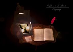 old book and lantern