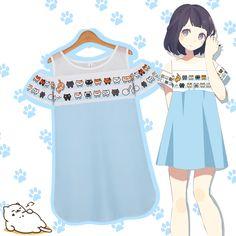 Japanese kawaii cats dew shoulder dress