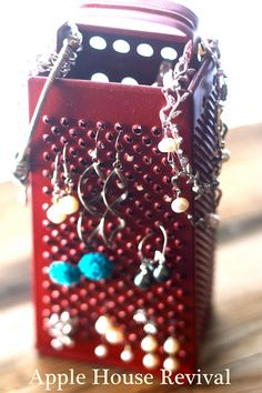 Apple House Revival - old cheese grater turned jewelry stand.