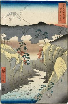 Inume Pass in Kai Province by Hiroshige from the 36 Views of Mt. Fuji series (1858).