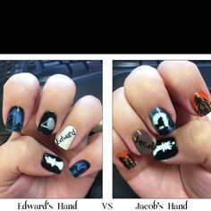 My Breaking Dawn nails!!!  Edwards hand vs. Jacobs hand!!  LOVE!!!
