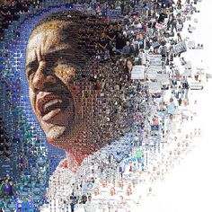 Amazing Mosaic vector illustration or photo collage to create one perfect poster design. A tribute to Barack Obama election submit your designs here. Face Collage, Collage Art, Presidente Obama, Barack Obama Family, Mosaic Portrait, Portrait Art, Portraits, Barack And Michelle, Tatoo