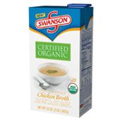 Swanson Ready to use organic chicken broth... 99 percent fat free and contains a third less sodium than Swanson's regular broth