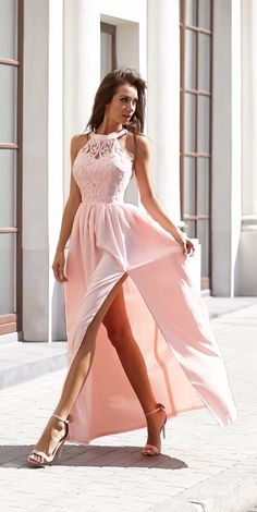 Newest Pink Lace Side Split Floor-length Formal Dress 2019 Evening Dress Item Code: Floral Prom Dresses, Trendy Dresses, Sexy Dresses, Bridal Dresses, Beautiful Dresses, Girls Dresses, Bridesmaid Dresses, Summer Dresses, Formal Dresses