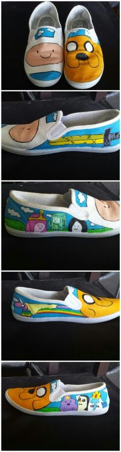 DIY shoes. Adventure Time. Fabric Paint.