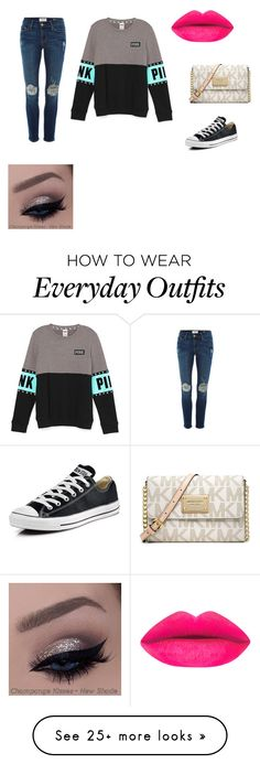 """""""Everyday outfit!✨"""" by cld2003 on Polyvore featuring Frame Denim, Converse, Michael Kors, women's clothing, women's fashion, women, female, woman, misses and juniors"""