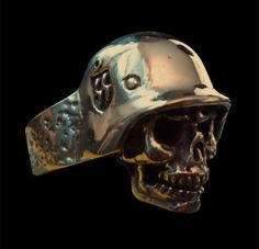 Bronze Ghost of the Western Front SS Skull Ring - Any Size - Free Shipping #Handmade #Statement