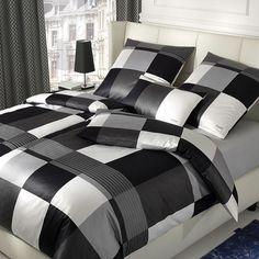 JOOP! Mako-Satin Bettwäsche Plaza Squares Black mit Reißverschluss. Gönnen Sie sich den Luxus dieser hochwertigen Garnitur für einen edlen Schlaf. Elegant verleiht diese Bettwäsche Ihrem Schlafzimmer Stil. #bettwäsche #bedding #schwarz-weiss #black #white #sleep  www.bettwaren-shop.de