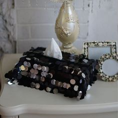 Sequins Bling Cloth Tissue Paper Box Holder Case Home Car Office Black Rectangle #Unbranded #VintageRetro