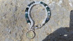 Gemstone Jade/Moonstone Bracelet  Green/White by GemsJewelsGirls