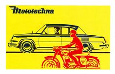 Mototechna card calender featuring Škoda 1100 MBX and Jawa Illustrations And Posters, Transport Illustrations, Car Tattoos, Retro Ads, Car Car, Sport Cars, Vintage Posters, Vintage Cars, Advertising