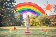 Lucy Elayne Photography - Love this! Layer (in photoshop) a photo the child painted onto a real life. Rainbow Photography, Love Photography, Creative Photography, Children Photography, Portrait Photography, Rainbow Baby, Over The Rainbow, Foto Pose, Art Graphique