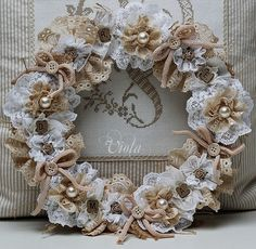 Lovely lace wreath w/buttons & baubles