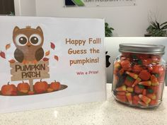 Cute/simple idea for fall at your practice's front desk. The prize can fit any budget, from a gift card to a free whitening treatment. Orthodontics Marketing, Dental Office Decor, Office Games, Dental Humor, Fall Gifts, Cool Office, Employee Engagement, Dental Assistant, Fun At Work