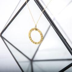 Cadeau fête des mères : Collier Sautoir personnalisé anneau rond en Argent 925, Argent trempé Or Jaune ou en Or Rose de la boutique OtakeValouElo sur Etsy
