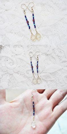 Beach Glass - Surf-Tumbled 41221: Sea Glass Jewelry Beach Earrings Swinging Longs Beaded Sterl Silver Blues 2350C -> BUY IT NOW ONLY: $31.99 on eBay!