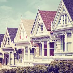 """Painted Ladies"" of San Francisco, California - The term ""Painted Ladies"" refers to Victorian- and Edwardian-style houses painted in three or more colors, which is meant to highlight their intricate details."