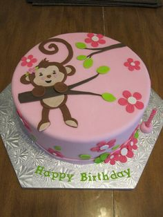 Love Birthday Monkey cake for girls More