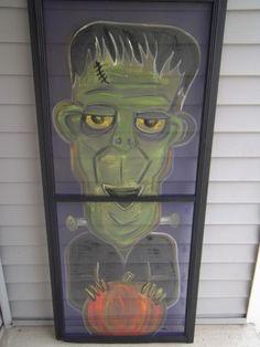 Halloween Monster Pumpkin Frankenstein I Painted on Vintage Screen. $35.00, via Etsy.
